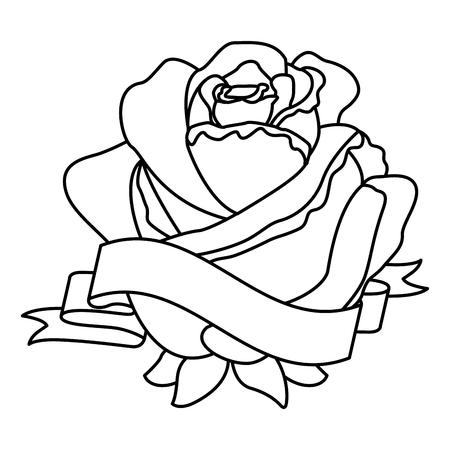 Rose flower ribbon decoration delicate vector illustration thin line Illustration