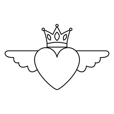 Heart in love with wings crown decoration vector illustration thin line