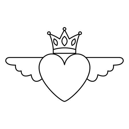 Herz in der Liebe mit Flügeln krönen dünne Linie der Dekorationsvektor-Illustration Standard-Bild - 96659882