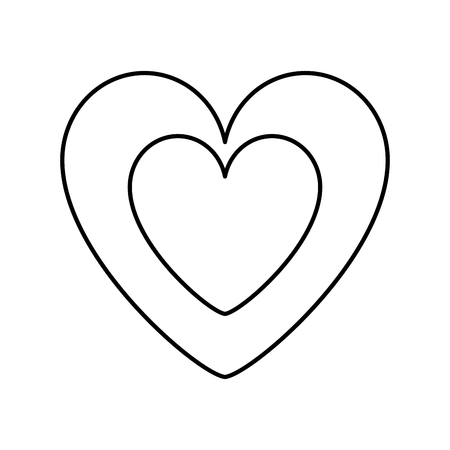 Cute heart in love decoration vector illustration thin line