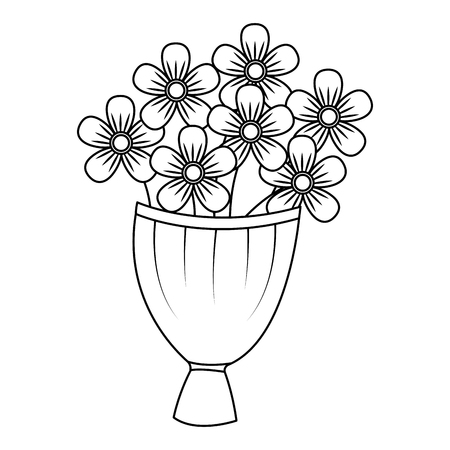 Decorative bouquet flowers decoration romantic vector illustration thin line