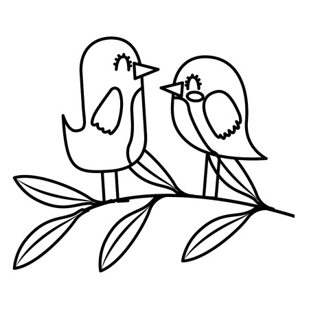 Cute couple birds together in tree branch vector illustration thin line