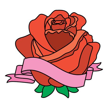 Red rose flower ribbon decoration delicate vector illustration
