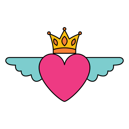 Heart in love with wings crown decoration vector illustration Banque d'images - 96659900