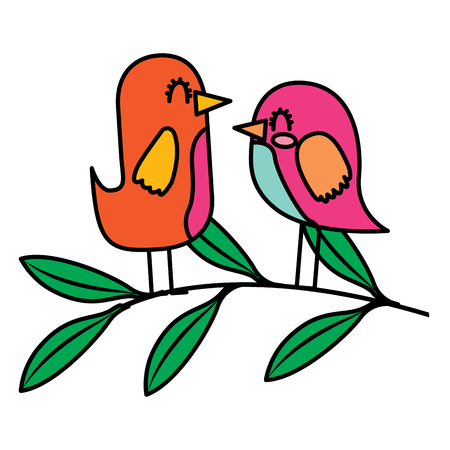 Cute couple birds together in tree branch vector illustration Ilustrace