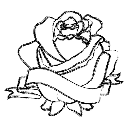 Rose flower ribbon decoration delicate vector illustration sketch image Illustration