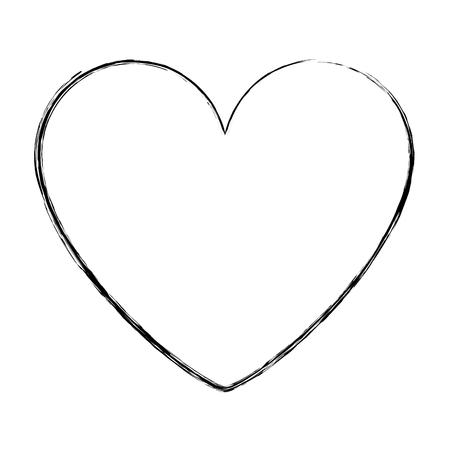 Heart love romantic passion icon vector illustration sketch image Vectores