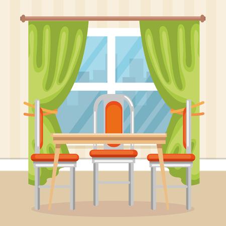 elegant dinning room scene vector illustration design Illustration