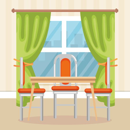 elegant dinning room scene vector illustration design Vettoriali