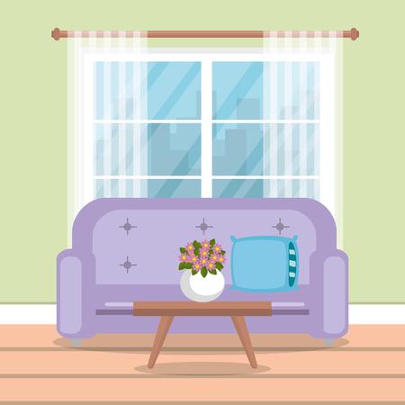 elegant living room scene vector illustration design