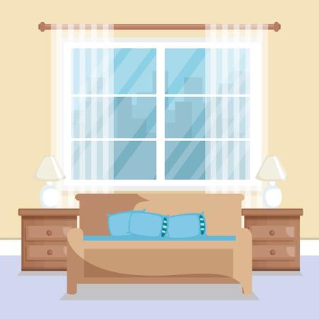 An elegant living room scene vector illustration design