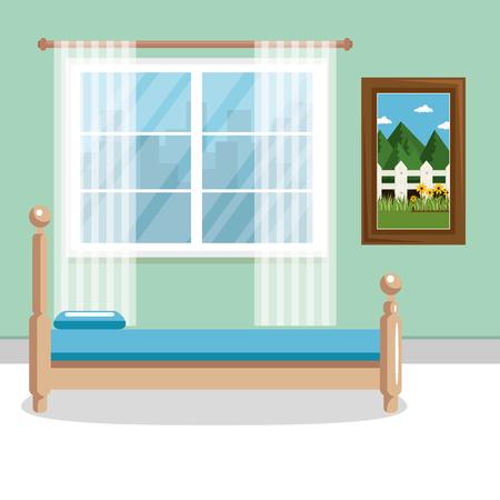 An elegant bedroom scene classic vector illustration design