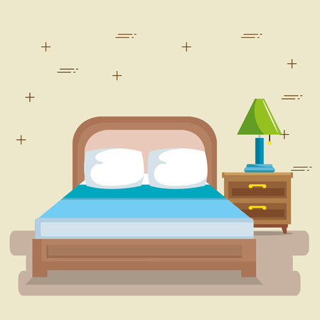 elegant bedroom scene classic vector illustration design