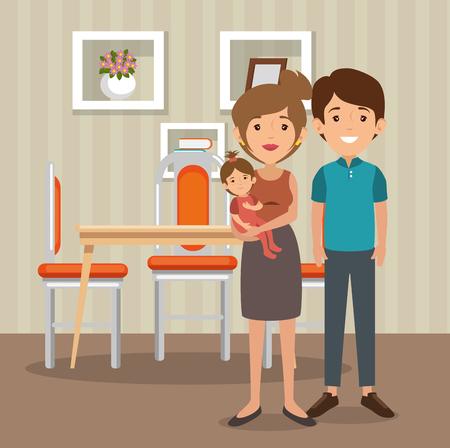 family parents in dinning room scene vector illustration design