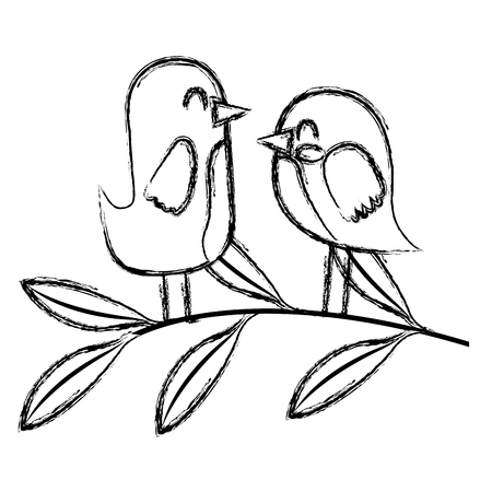 cute couple birds together in tree branch vector illustration sketch image Çizim