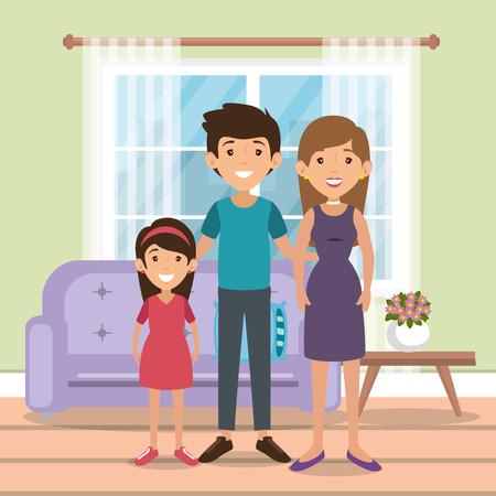 family parents in living room scene vector illustration design
