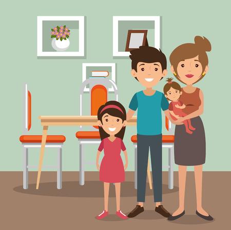 ダイニングルームシーンベクトルイラストデザインの家族の両親  イラスト・ベクター素材