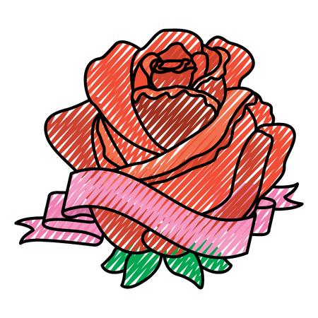 Immagine delicata del disegno dell'illustrazione di vettore della decorazione del nastro del fiore della rosa rossa Archivio Fotografico - 96545299