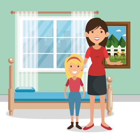 family parents in bedroom scene vector illustration design