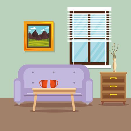familie ouders in woonkamer scène vector illustratie ontwerp