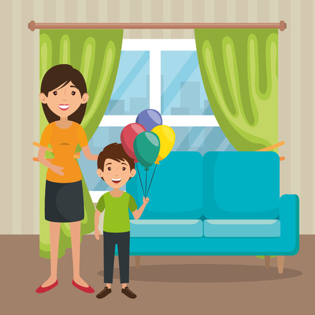 Family mother and son in living room scene vector illustration design