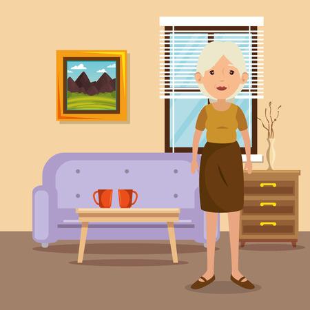 Family - grandmother  in living room scene vector illustration design