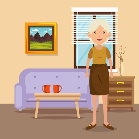 Family - grandmother  in living room scene vector illustration design