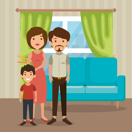 Family parents and child in living room scene vector illustration design