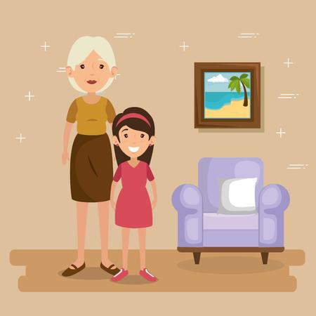 familie ouders in woonkamer scène vector illustratie ontwerp Vector Illustratie