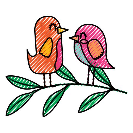 cute couple birds together in tree branch vector illustration drawing image