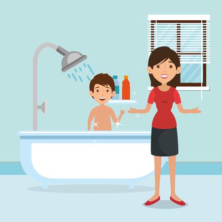 욕조 장면 벡터 일러스트 레이 션 디자인 욕실에서 가족 부모