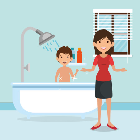 family parents in bathroom with tub scene vector illustration design