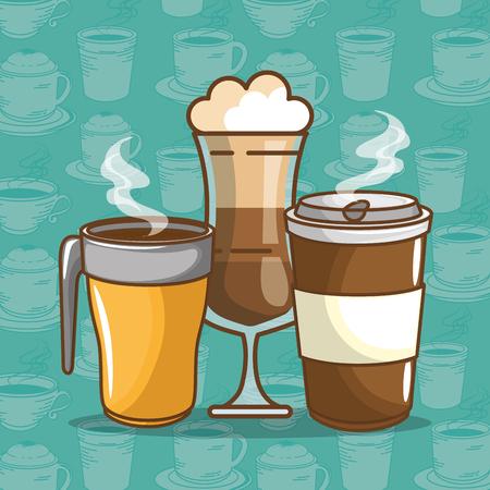 おいしいコーヒータイム要素セットベクターイラストデザイン