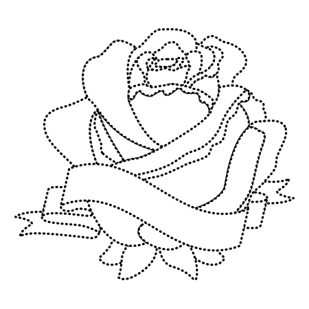 Rosa punteggiata con illustrazione delicata di vettore della decorazione dell'insegna Archivio Fotografico - 96529294