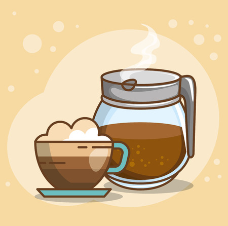 Delicious coffee time elements such as coffee pot and coffee vector illustration design