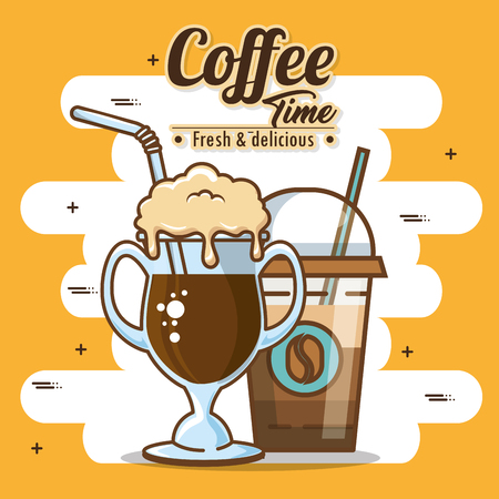 Delicious coffee time  with iced coffee elements vector illustration design
