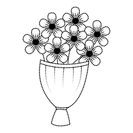 Decorative bouquet of flowers romantic image vector illustration dotted line