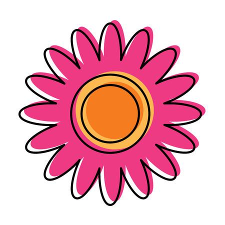 Pink flower decoration ornament natural vector illustration
