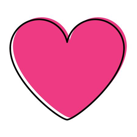 pink heart love romantic passion icon vector illustration