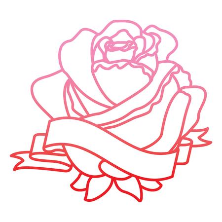 red rose flower ribbon decoration delicate vector illustration degrade color line
