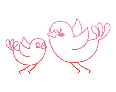 beautiful flying birds lovely animal vector illustration degrade color line