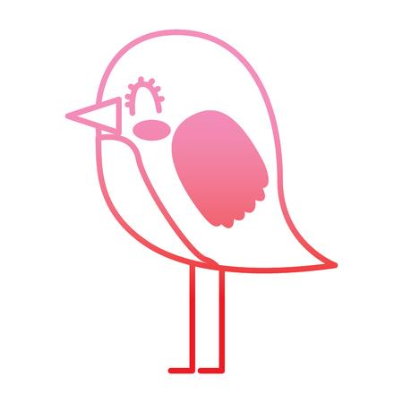 cute cartoon bird animal beauty vector illustration vector illustration degrade color line