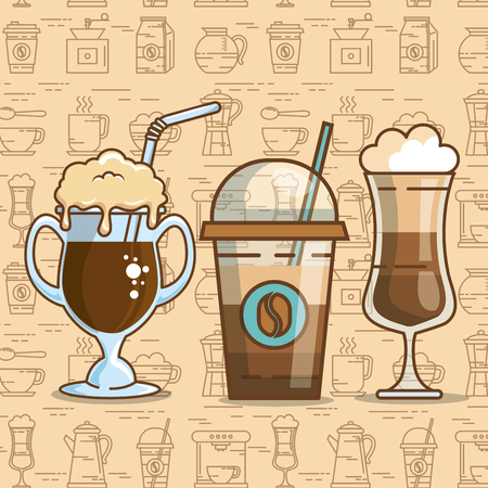 Progettazione deliziosa dell'illustrazione di vettore degli elementi di tempo del caffè. Archivio Fotografico - 96682938