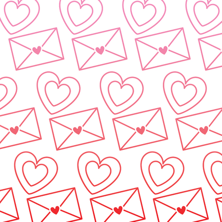 cute envelope message heart love pattern vector illustration degrade color line