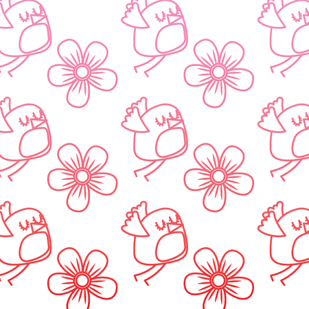 cute flying bird and flowers decoration pattern vector illustration degrade color line