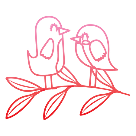 cute couple birds together in tree branch vector illustration degrade color line Çizim