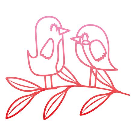 cute couple birds together in tree branch vector illustration degrade color line Illustration