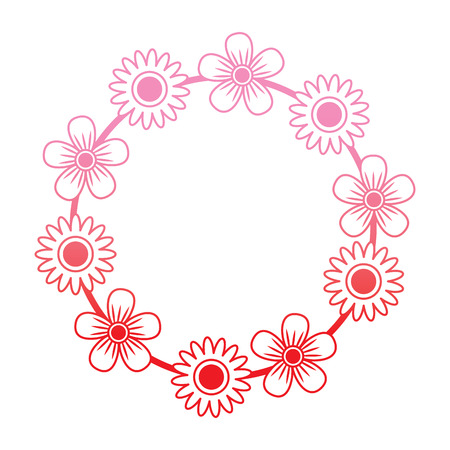 floral wreath flowers decoration ornament vector illustration degrade color line Illustration
