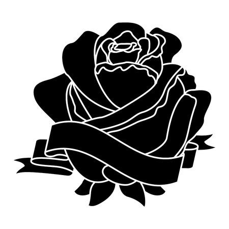 Progettazione in bianco e nero dell'illustrazione delicata di vettore della decorazione del nastro del fiore rosa Archivio Fotografico - 96548783