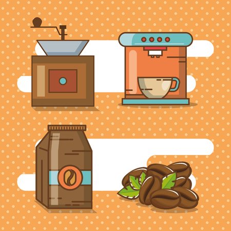 Delicious coffee time elements vector illustration design. Stock Illustratie